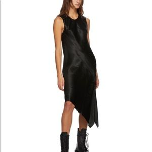 Ann Demeulemeester Black Satin Tank Dress Large